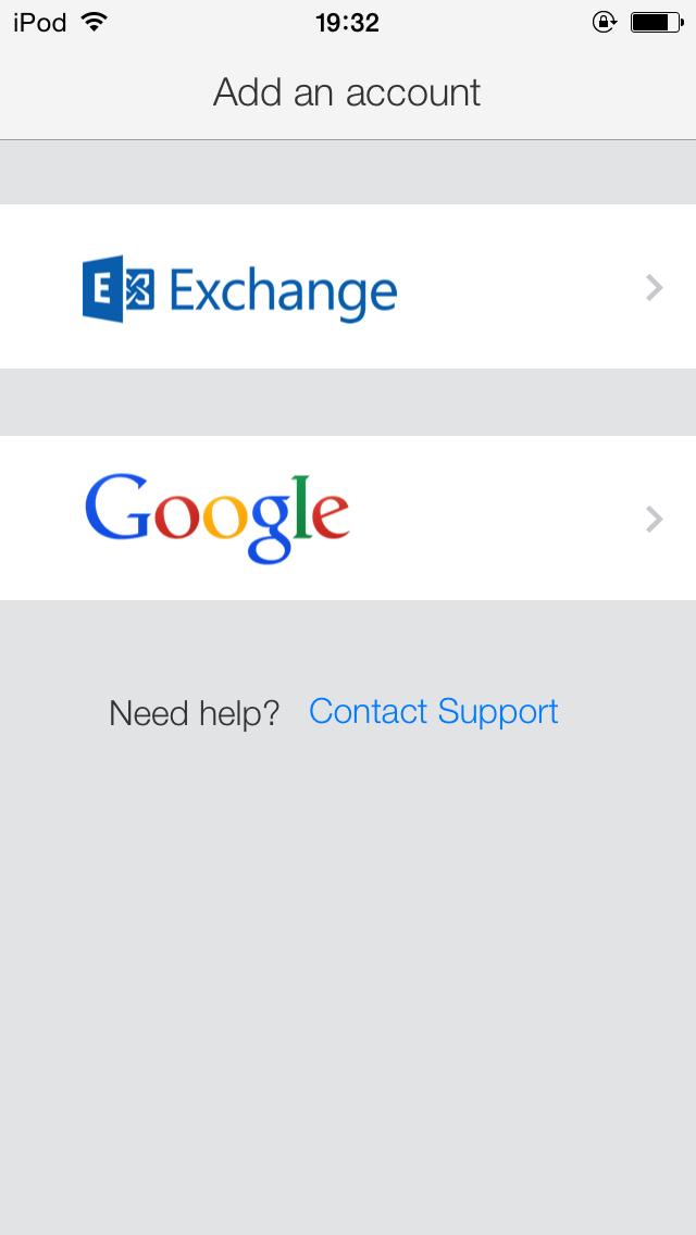 GmailとExchangeが選べます